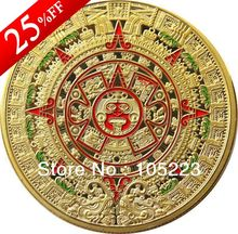 High Quality 100pcs/lot DHL Free Shipping 1 OZ MINT MAYAN AZTEC GODS 24k .999 GOLD clad COIN PROPHECY CALENDAR 2012