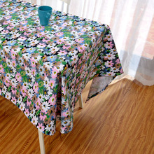 Latest High Grade Eco Tablecloth Colorful White Green Pink Flowers Table Linen Natural Floral Table Cover on Garden Desk Decor