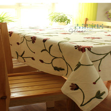 Morden cotton linen tablecloth high-quality hand embroidery flower pattern table cover,home decor 130cm*180cm Free Shipping(China)