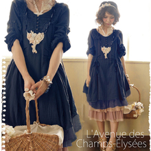 Buy Japanese Style Mori Girl 2016 Spring Women Solid Color Lace Patchwork Long Sleeve Harajuku Kawaii Dress Catwalk Dresses C262 for $31.54 in AliExpress store