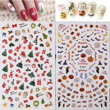 20styles Halloween/christmas Nail Art Half Cover Adhesive Transfer Stickers Xmas Stocking Ghost Image DIY Gel Polish Tips Decals