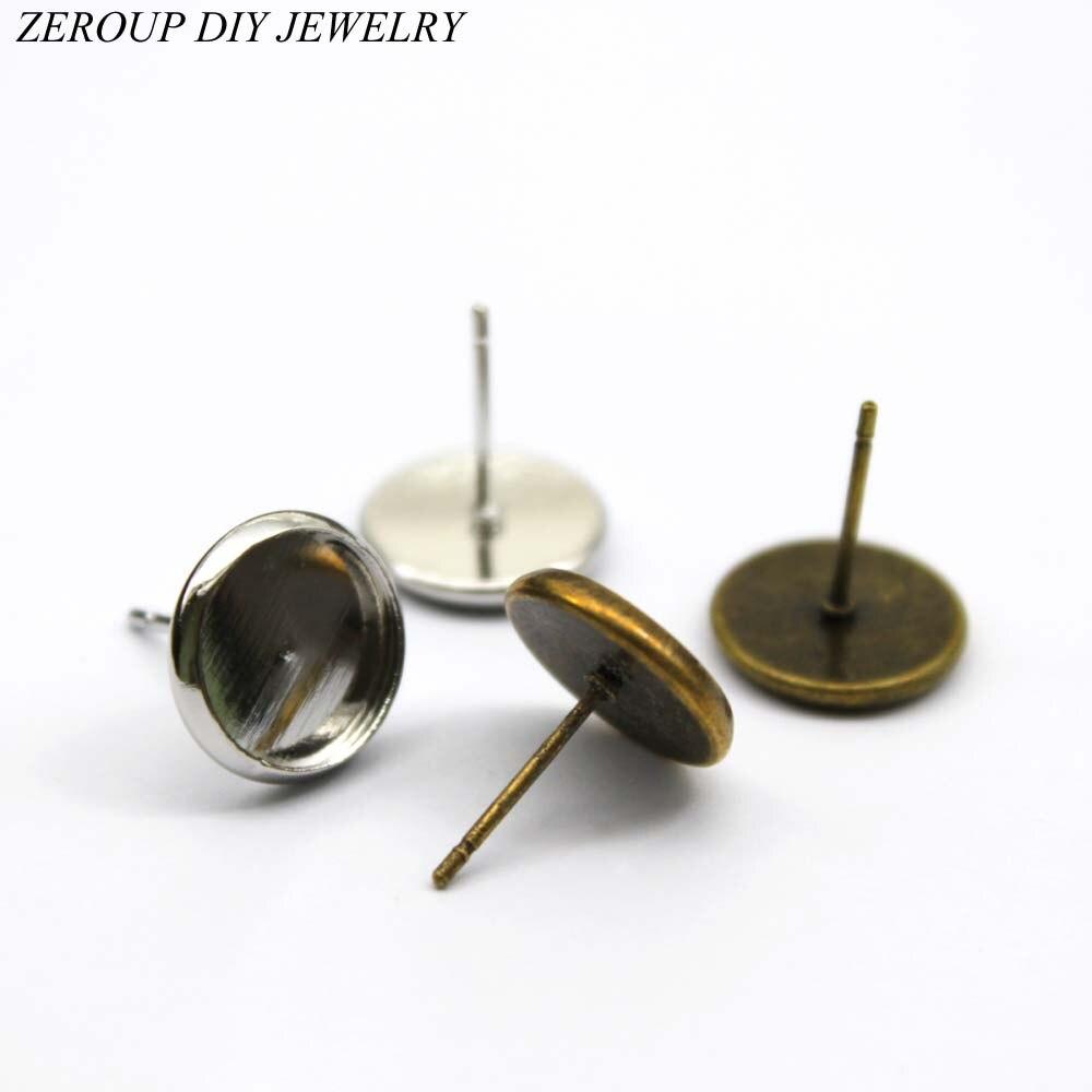 Zeroup 10 мм серьги стержня круглый Медь посеребренные стеклянный кабошон база серьги заготовок, устанавливающих Фурнитура для бижутерии 20 шт./...(China)