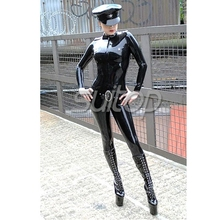 Buy Police woman man rubber catsuit latex body suit Black suit sets includeing cap SUITOP army men military customised