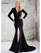 Long Sleeve Mermaid Prom Dresses Re Front Slit Attractive Night Party Dresses Open Back Sexy Evening Gowns vestido longo S1320