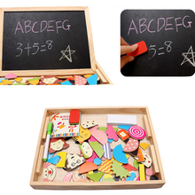 Baby kids wooden Magnetic Puzzle toy interesting Blackboard Sketchpad toys for children cartoon puzzles animal wooden toy CU24(China)