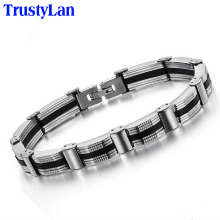 TrustyLan Fashion Design Silicone Bracelet Men Stainless Steel Link Chain Bracelets Bangles Mens Bracelets Jewelry Wristband