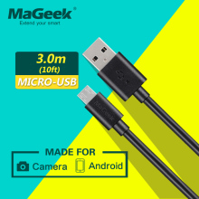 MaGeek 3.0m/10ft Super Long Micro USB Cable Fast Charge Mobile Phone Cables for Android Samsung Galaxy S7 S6 LG Huawei Xiaomi(China)