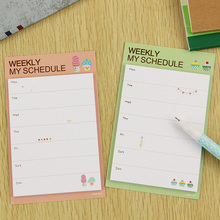 2 PCS Fresh Style Weekly Daily Schedule Mini Memo Pad N Times Sticky Notes Bookmark School Office Supply Escolar Papelaria