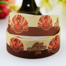 "7/8"" 22mm quirky turkey lurkey Thanksgiving Cartoon Printed grosgrain ribbon party decoration sewing supplies 10 Yards X-00540(China)"