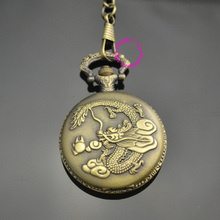 low price good quality retro vintage bronze man classic men father day gift cool dragon with fire pocket watch short waist chain