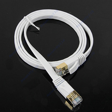 1M Cat7 RJ45 M/M Thin Flat Shielded Twisted Pair Internet Lan Network Cable Wire