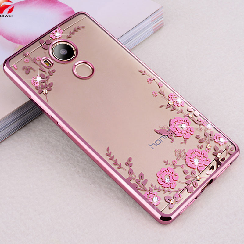 Huawei Honor 6C Case 5.0 inch Bling Flowers Crystal Rose Gold Plating Soft Silicone Back Cover Cases Huawei Nova Smart