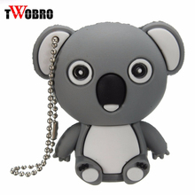 TWOBRO Cartoon USB Pendrive 8GB/16GB/32GB/64GB Cute Koala Keyring Keychain USB Flash Drive 2.0 Memory Stick 1GB/2GB/4GB U Disk