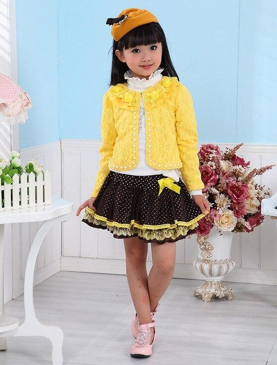 Wholesale - - New Baby Girl 3 Piece Suits T-shirt+Coat+Skirt Kids Princess Tutu Dress Children Lapel Sets 4S/L<br><br>Aliexpress