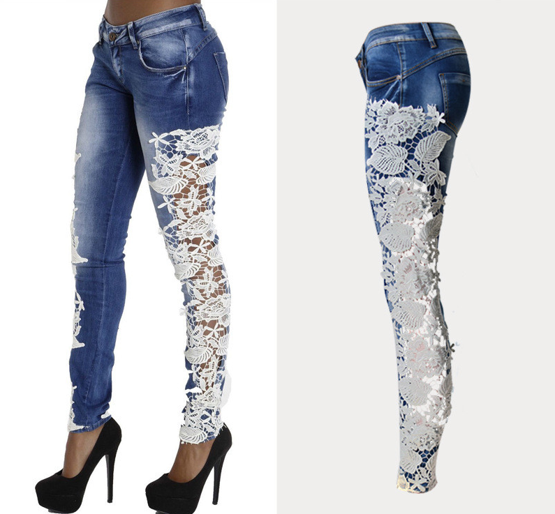 Women Fashion Jeans Hollow Out Patchwork Lace Stitching full length Stretch Pencil Pants Mid-Waist Tights Skinny Women Jeans  Одежда и ак�е��уары<br><br><br>Aliexpress