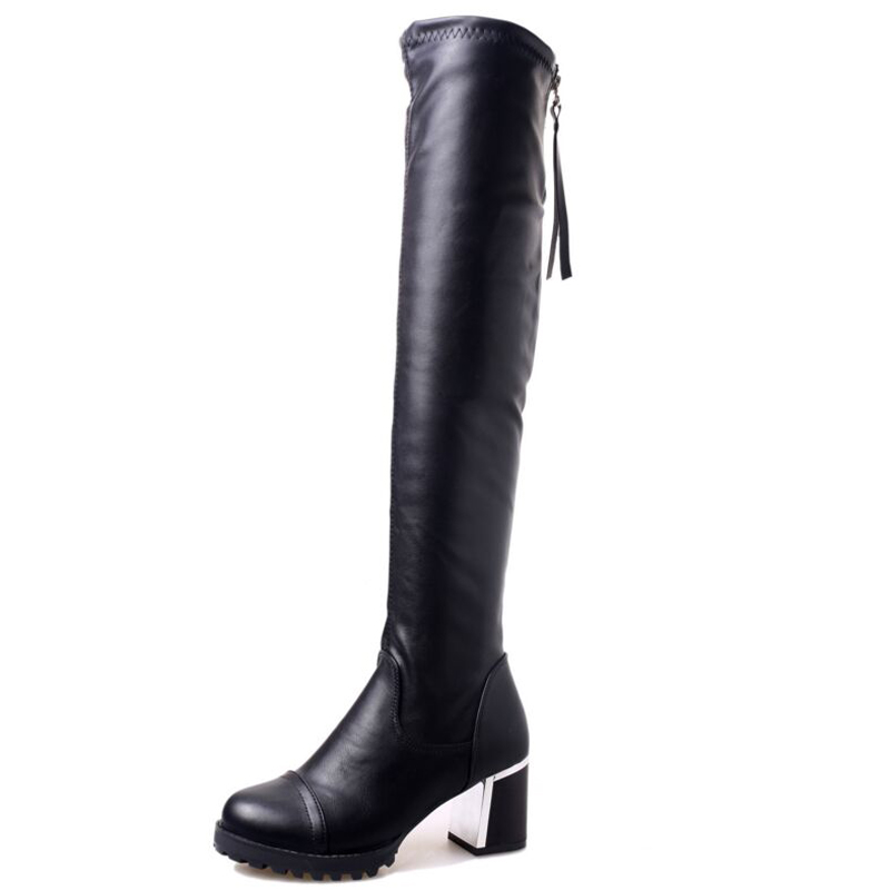 2017 Fashion PU Leather Over Knee Boots Women Sequined Toe Elastic Stretch Thick Heel Thigh High Riding Boots Big Size 40 WBS156<br><br>Aliexpress
