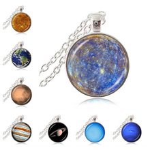 8 Planet of Solar System Necklace Space Pendant Universe Jewelry Astronomy Sweater Necklace Mercury Venus Earth Cosmic Necklace(China)