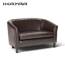 iKayaa US UK FR Stock2 Seat PU Leather Sofa Tub-shaped Love Seat Couch Double Sofa Living Room Lounge Furniture W/ Wood Legs