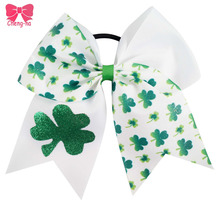 3Pcs/LOT 7Inch Angel St. Patrick's Day Bow Boutique Style Large Shamrock Ribbon Hair Bow For WOmen Girl Hair Clips Accessories()