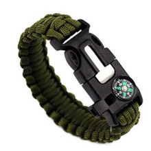 Outdoor Survival Bracelets Camping Rescue Parachute Cord Compass Bracelets & Bangles Wristband Emergency KitsCasual/Sporty(China)