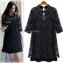 Vintage plus size M-5XL women summer clothing lace one piece dress casual loose dresses fashion WD1956