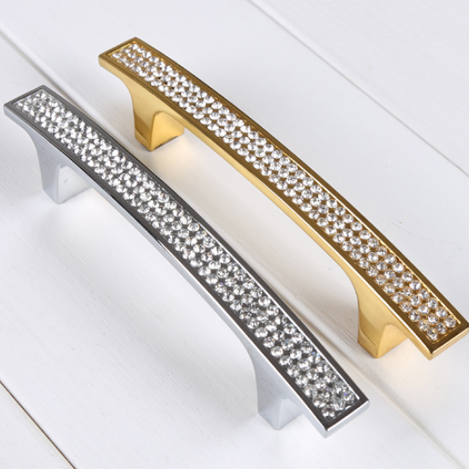 K9 Crystal Furniture Knobs European Contemporary Shiny Diamond Gold Home  Decoration Ambry Drawer Door Handles Pack