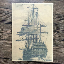 Free ship Ancient sailboat port poster paint retro Kraft Poster vintage Wall Art Sticker Living Room picture 42*30CM