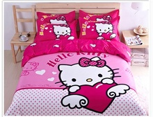Hello kitty 100% cotton kids/children bedding set full bed set bedclothes bed cover sheet/comforters bedlinens