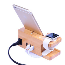 New 3 USB Ports US EU UK Plug Bamboo Wood Charger AC Power Adapter Charging Dock Station Stand Holder For Cell Phone Apple Watch(China)