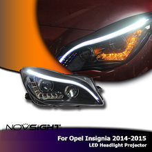 NOVSIGHT 2PCS Auto Car LED Headlights Assembly Headlamp Projector DRL Fog Light For Opel Insignia 2014-2015(China)