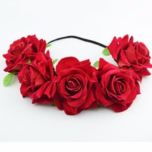 Hair Wreath Halo red rose Flower Floral Bridal Hair Band Boho Girl Headband Accessories Fabric Hair Crown Headpiece Wedding