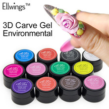 Ellwings 3D Carved Patterns UV Gel Nail Art Modelling Manicure DIY Bright Sculpture Nail Art Decoration 12 Colors(China)