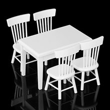 LeadingStar 5pcs White Dining Table Chair Model Set 1:12 Dollhouse Miniature Furniture Great Children Gift zk25