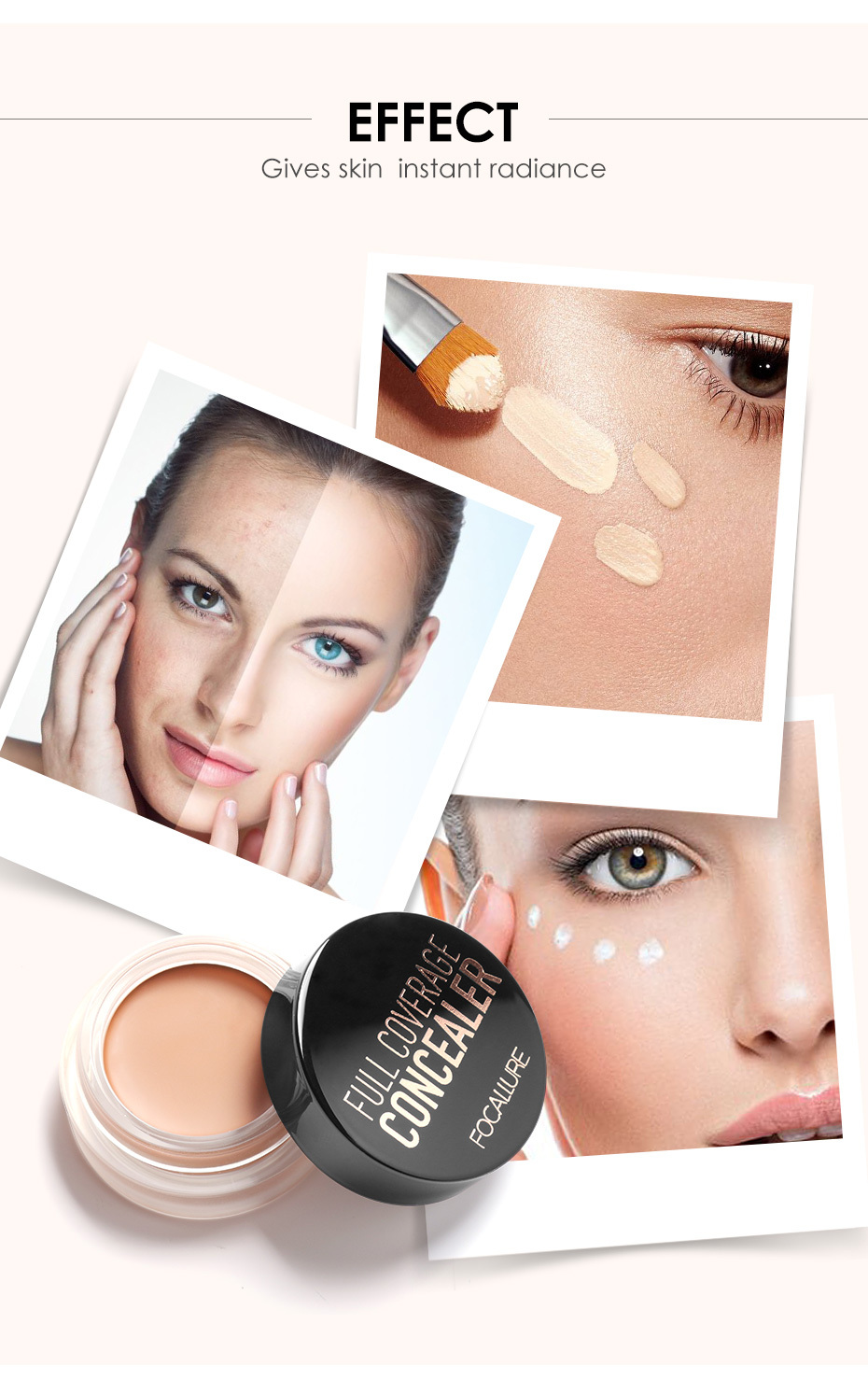 FOCALLURE 7 Colors Full Cover Concealer cream Makeup Primer Cover Foundation Base Lasting Oil Control Cream Concealer 3