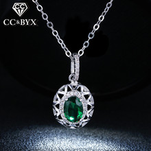 Fine Green Stone CZ Pendants Necklace For Women Shine Crystal Vintage Jewelry Necklace Party Wedding Accessories N006