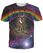 Free Shipping Women Men 3d Follow Your Dreams T-Shirt Neil Patrick Harris riding a dolphin in space t shirt galaxy summer tees