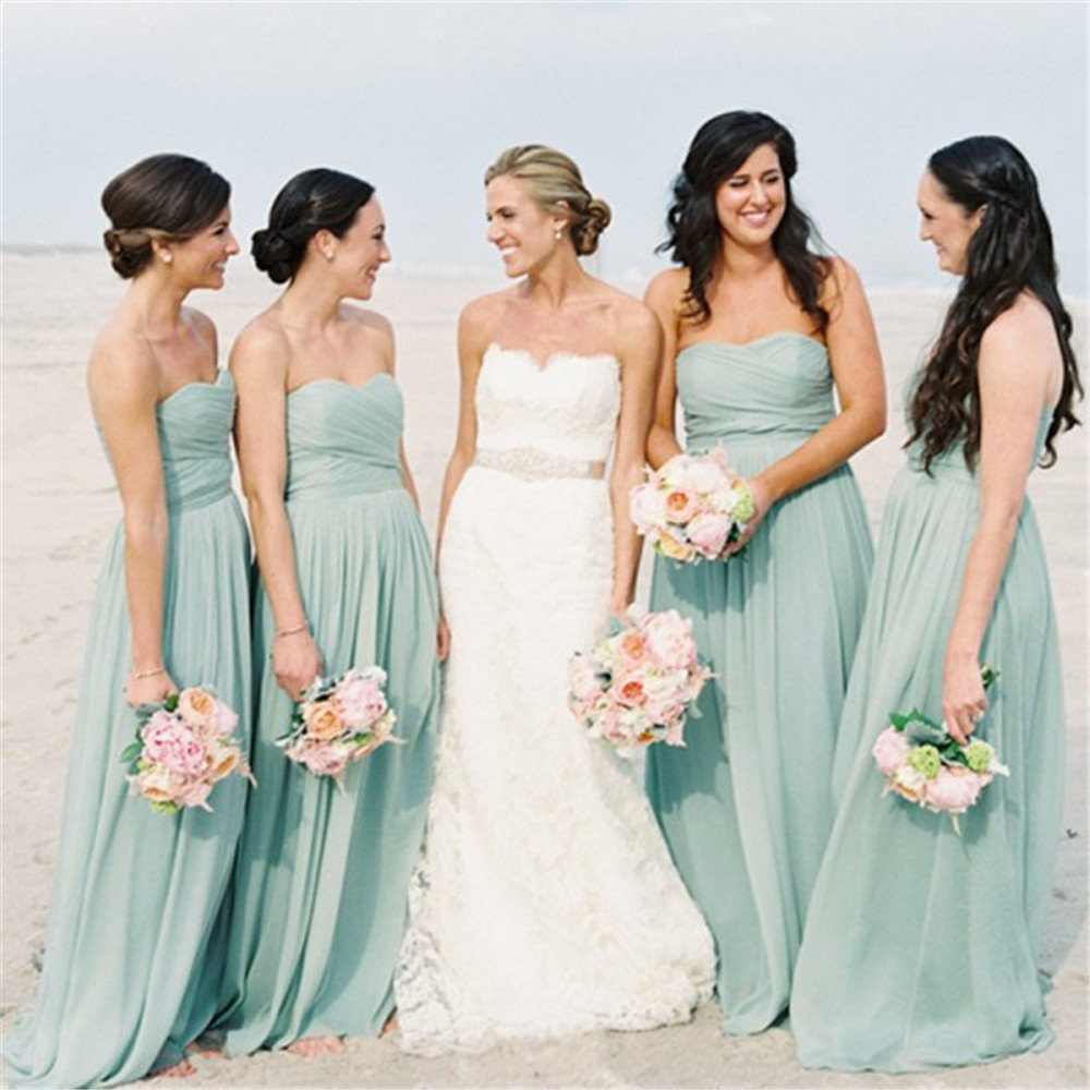 2019 High Quality Beach Wedding Party Dresses Strapless Pleat Chiffon Mint Green Long Bridesmaid Dress Cheap Maid Of Honor Gowns