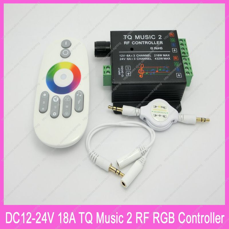 DC12-24V 18A TQ MUSIC2 RF RGB Music Controller with RF Wilress Intelligent Sonic Sensitivity Led Backlight Remote<br><br>Aliexpress