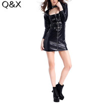 Buy PS23 2017 Women Wet Look Long Sleeves Costume Dress Black Faux Leather Mini Party High Neck PVC Clubwear Sexy Latex Zip Bodycon