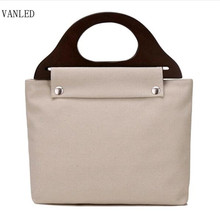 New Women's Solid color Canvas Handbag Handle Wooden put the leisure wild retro bag fashion mummy bag    B078