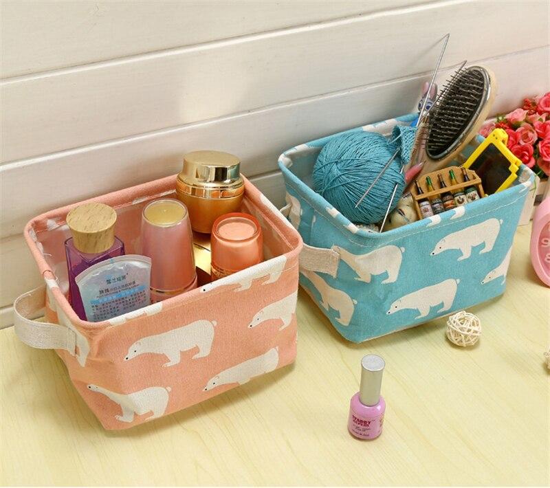 XC USHIO Cartoon Flamingo Rectangle Desktop Storage Box Linen Sundries Storage Organizer Cosmetic Storage Basket Container Case (2)