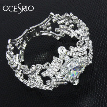 OCESRIO Cubic Zirconia Wedding Bracelet Bangles Luxury Wide Bracelet Silver Charm Bracelet for Women CZ Diamond Jewelry brt-j90