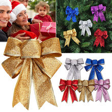 12Pcs Color Bow Christmas Tree Xmas Hanging Ornament Red Gold Silver Bowknot Party Decor Christmas Decoration