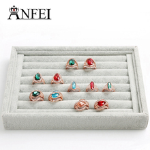 ANFEI jewelry display  ring display tray Jewelry display cases Storage box stand display rack organizer boxes gray