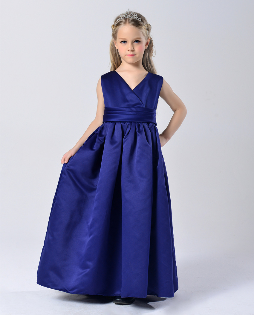 Fashion maxi royal blue satin party dress prom dress kids fashion princess dresses for girls 11 years<br><br>Aliexpress
