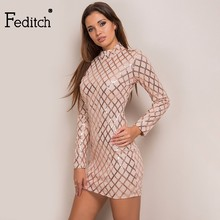 Buy Feditch New Fashion Sequins Party Dresses Women Elegant Bandage Bodycon Sexy Dress Back Zipper Vestidos Hot Sale Office Dress for $17.99 in AliExpress store