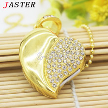 JASTER Metal crystal love Heart USB Flash Drive precious stone pen drive special gift  8GB/16GB diamond memory stick pen drive