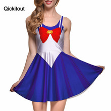 Explosion models Europe and America Star Empty Digital Printing Wholesale Sailor Moon Pleated Dress Brand designer dress(China)