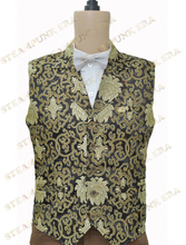 Free Shipping Halloween Costume Noble Black Golden Floral Jacquard Victorian Steampunk Waistcoat