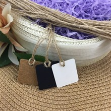 100pcs hemp rope with 100 pcs  Kraft Paper Tags 3.0*3.5cm Favour Wedding Party Gift Bag Name Labe customized tags
